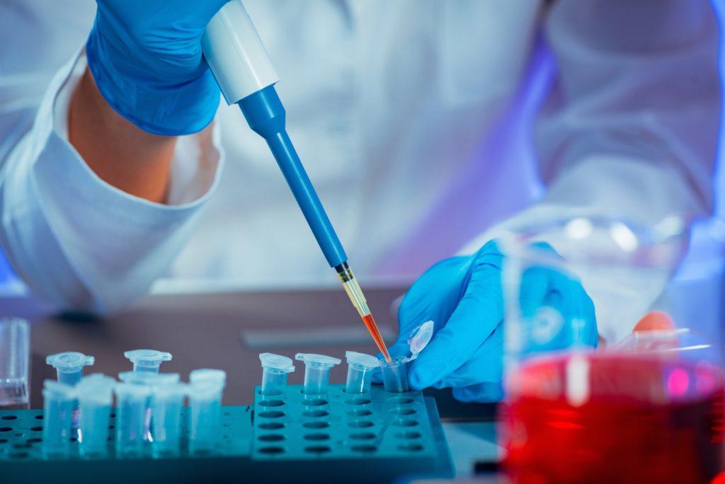 Biotechnology. Scientist working in lab.
